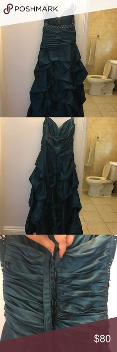 Emerald Dark Green Prom Dress Worn only once, the dress is a size 7/8 with a corset backing and a lower zipper. Dresses Prom