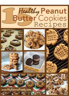 15 Healthy Peanut Butter Cookies Recipes - MyNaturalFamily.com #peanutbutter #cookies #recipe