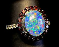 Opal, Garnet Halo ring & White Topaz ring. Stunning Top Quality Natural Australian Opal Triplet. Solid Sterling Silver. Ready To Ship.