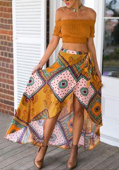 Ethnic Asymmetric Wrap Skirt
