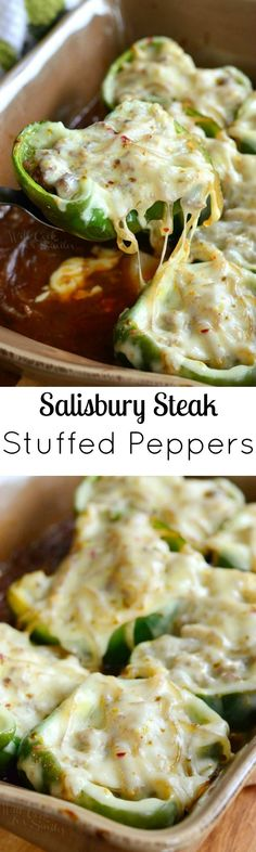 Salisbury Steak Stuffed Peppers. This finger-licking stuffed pepper dish is filled with delicious ground beef mixture and gravy that makes it taste just like Salisbury steak.