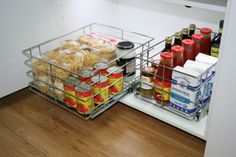 Bottom mount storage solutions for hard to reach cabinet areas.  It has pull out capability enabling easy access.