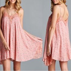 The EMELINE floral print sundress - PINK ️HPx2Floral printed sun dress featuring lace contrast around neckline and sides. Adjustable straps. Trapeze silhouette. Fully lined. Non-sheer. Lightweight.  100%RAYON ️NO ️TRADE, ️PRICE FIRM‼️ Bellanblue Dresses