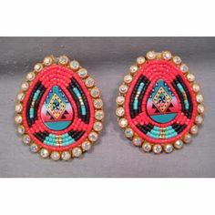 Beaded teardrop posts, Geraldine Condon (Lakota) www.redcloudschool.org/shop.