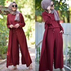 Pinterest: @adarkurdish Muslim Fashion, Modest Fashion, Hijab Fashion, Fashion Outfits, Jumpsuit Hijab, Hijab Dress, Modest Dresses, Modest Outfits, Cute Outfits