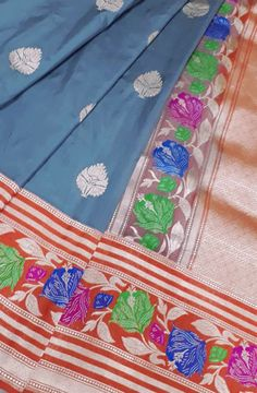 Grey Handloom Banarasi Katan Silk Saree
