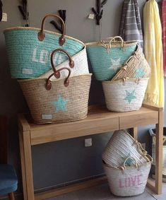 Baskets By Twenty Violet's ! Beach Basket, Rope Basket, Basket Bag, My Bags, Purses And Bags, Ibiza, Handmade Bags, Wicker Baskets, Straw Bag