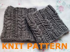 KNIT PATTERN Melissa's Cabled Boot Cuff by ClockworkChristina, $4.25 Knitted Boot Cuffs, Crochet Boots, Knit Boots, Knitting Socks, Loom Knitting, Knitting Stitches, Knitted Hats, Knit Crochet, Hand Knitting