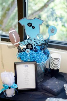Turquoise & Black Baby Shower Centerpiece   © Forever Moments Events   Photography by ©Ashley Kuaea Photography