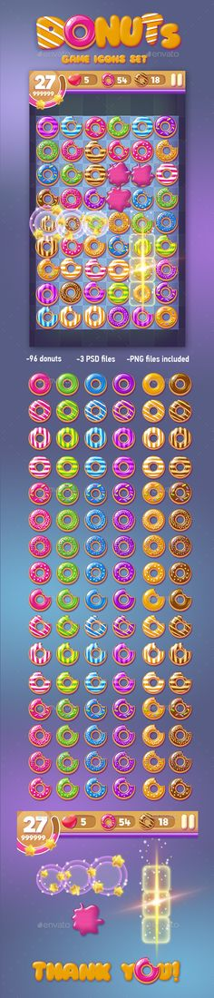 Donut Game Icons Set — Photoshop PSD #game #ui • Available here → https://graphicriver.net/item/donut-game-icons-set/15558472?ref=pxcr