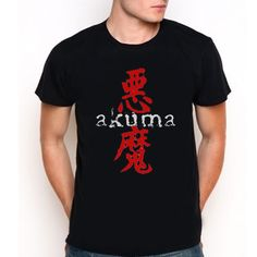 AKUMA Street Fighter Gouki Devil Japanese Black T-Shirt Tee All Size XS-XXL