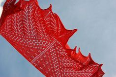 Hand Knit Lace Shawl in Poppy Red Women's Knit Shawl Red