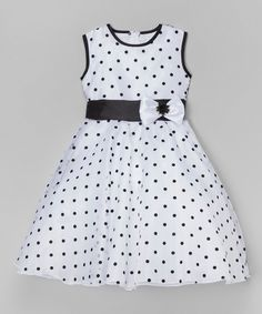 Look at this #zulilyfind! Kid Fashion White & Black Polka Dot A-Line Dress - Toddler & Girls by Kid Fashion #zulilyfinds