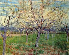 Vincent van Gogh — Orchard with Blossoming Apricot Trees, 1888,...