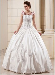 Wedding Dresses - $252.99 - Ball-Gown Floor-Length Satin Wedding Dress With Lace Beading Flower(s) Sequins  http://www.dressfirst.com/Ball-Gown-Floor-Length-Satin-Wedding-Dress-With-Lace-Beading-Flower-S-Sequins-002012651-g12651