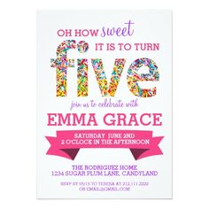 65 best 15th birthday party invitations images on pinterest in 2018 candy theme 5th birthday party sprinkles invite filmwisefo