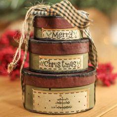 "Primitive ""Merry Christmas"" Nesting Box Ornament"