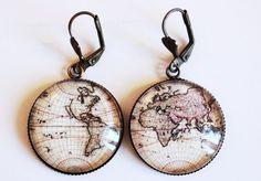 vintage map earrings
