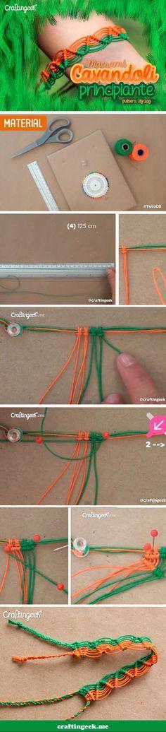 Inicio de técnica Cavandoli. http://www.craftingeek.me/2013/08/como-hacer-macrame-cavandoli-zig-zag.html Pulsera en zig-zag