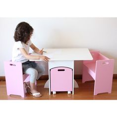 Aston Pink Kids Table & Chairs Set w/ Toy Storage