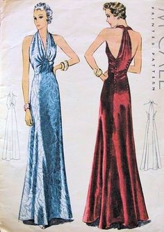 1930s GORGEOUS ART DECO BIAS CUT EVENING GOWN DRESS PATTERN PLUNGING V NECKLINE UNIQUE DOUBLE BUTTON BACK McCALL 9919