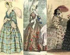 Day dress 1850, outdoor dress 1853, and a promenade dress 1855. Just a few of the outfits a wealthy Victorian lady would have in her wardrobe.