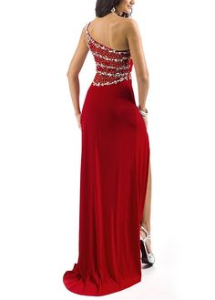 Graceful Chiffon Sheath One Shoulder Neckline Natural Waist Full Lenth Slit Prom Gown With Beadings