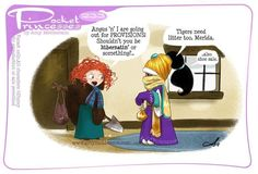 "What would happen if your favorite Disney Princesses move in together? Let me tell you, things are about to get real! The talented artist Amy Mebberson created an adorable comic series titled ""Pocket Princesses"" and in Pocket Princesses, Pocket Princess Comics, Disney Princess Cartoons, Disney Jokes, Funny Disney Memes, Disney Cartoons, Funny Cartoons, Funny Comics, Disney Facts"