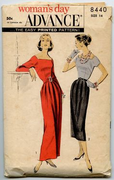 1950s Advance 8440 Vintage Dress Pattern Two by GreyDogVintage, $35.00