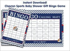 30 Baby Shower Bingo Cards  Baseball Red and by FUNDigitalDesigns