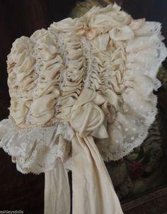 French Doll Bonnet, Silk Roses & Lace, Antique Doll Bonnet, AMAZING!!! Ashleysdolls.com
