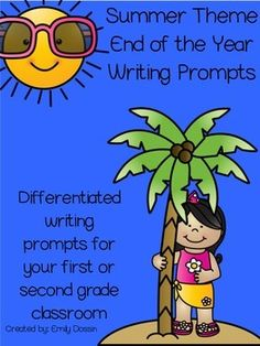 End of the Year Writing Prompts with a summer theme!  These are great writing prompts for students to work on as the year is winding down and summer is in sight!  This pack includes:- 13 differentiated writing prompts (each prompt has 2 styles of paper for different learners)