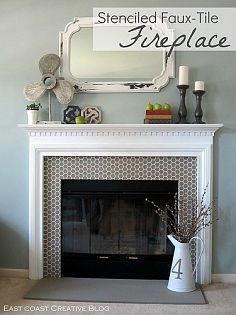 : Lynne's clipboard on Hometalk - stenciling tile on fireplace surround