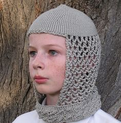 Etsy crocheted Sir Chivalry's Medieval Chainmail Knight Hood. $25 #halloween #crochet #medieval #knight #crafts #costume #yarn #bamboo