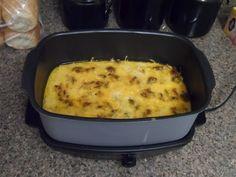 Spicy Italian Sausage breakfast casserole in the crock pot! #breakfast #casserole #crockpot #glutenfree