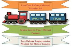 MUTUAL TRANSFER Now easily mutual transfer by www.fikaz.com We are help you for mutual transfer with more facilities. FOR RAILWAY EMPLOYEE MUTUAL TRANSFER:- http://www.fikaz.com/bharat/railmutual.php