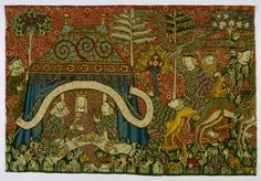 Banquet of Wild People, c. 1420, Strasbourg, Material / Technique: knitting, chain: linen, dyed, weft: wool, multiple colors, faces, embroidery, silk, multiple colors, Linen, undyed, split stitch, flat and raised satin stitch, sketch, warp density 6-7 fibers / cm, Dimensions: H. 92.5 cm; as 135 cm