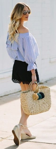 #spring #summer #fashionistas #outfitideas | Blue Bowed Stripes + Black Lace | The Dash Of Darling