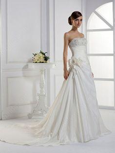 A-line Strapless Taffeta Court Train Flower(s) Wedding Dresses