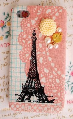 Designed with sackcloth for iphone case, and white beads, and the Eiffel Tower, in the plain with the temperament