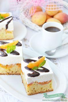 Prajitura cu caise si crema de mascarpone Romanian Food, Cheesecake, Sweets, Cakes, Desserts, Deserts, Mascarpone, Tailgate Desserts, Gummi Candy
