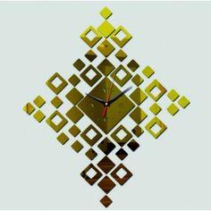 Design nástenné hodiny zlatý štvorec , nálepka na stenu .