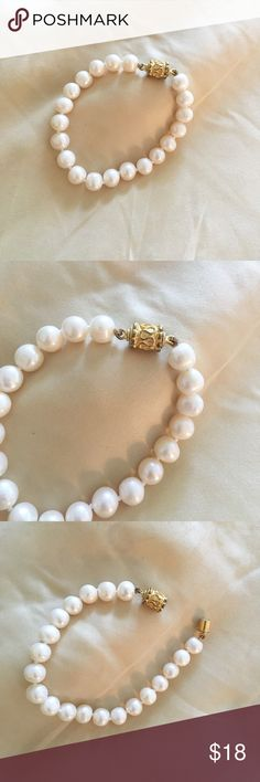 Pearl bracelet 💕💕🎀 (lab-created) Very beautiful and elegant pearl-bracelet. The pearls are lab-created - not plastic/etc. Not nordstrom brand - from a local jewelry store! Very beautiful on. The closure is a strong magnet - so it's easy to put on yourself ☺️☺️☺️ has only been worn a few times, but have never had any issue w/ the magnet/it stays on!! 💕🎀  I am OPEN TO OFFERS but please use the offer button at the bottom 💋💋 thanks beauties happy poshing!! 💕💋🎀 Nordstrom Jewelry…