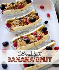 Breakfast Banana Splits  Ingredients: 1 banana 1/2 cup Greek yoghurt 1 Tbsp. all-natural strawberry jam 4-5 strawberries, sliced 4-5 blackberries 1 tsp. granola (or oats) 1 tsp. chopped nuts   Directions: Peel banana and cut in half lengthwise. Place halves in a shallow bowl. Add a few berries to the bottom of the bowl, between banana halves. Top with Greek yoghurt and sprinkle with remaining berries, granola, and nuts.   21 Day Fix Equivalents: 2.5 Purples 1/2 Red 2 tsp.
