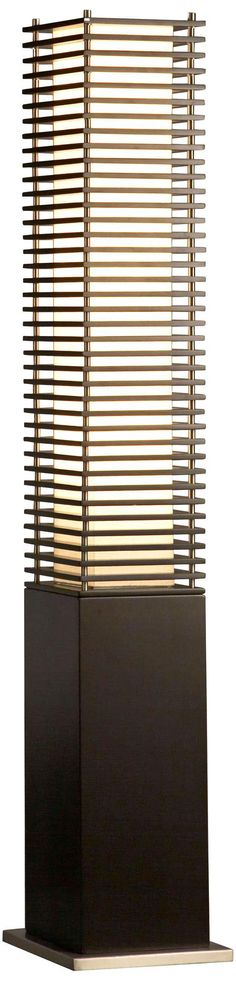 This gorgeous floor lamp will illuminate modern decor with an Asian flair. Dark brown wood finish with brushed nickel details. Style # at Lamps Plus. Contemporary Decor, Modern Decor, Wood Floor Lamp, Floor Lamps, Column Lights, Pillar Design, Modern Asian, Brown Wood, Dark Brown