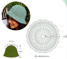 Green Bucket Hat free crochet graph pattern