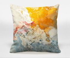 Decorative pillow with abstract art, 16x16, 18x18, 20x20 in yellow, orange and white, throw pillow, finished complete pillow, The Kiss on Etsy, $30.00