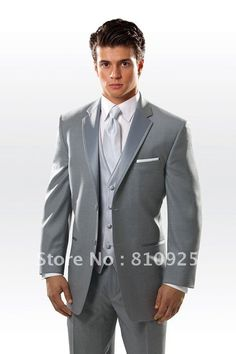 gray custom made 3 piece suits