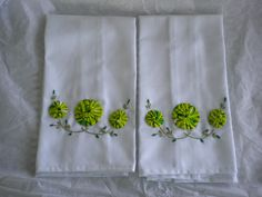 ~ Hand Embroidery Dish Towel Set w/ Fabric Yo-Yos ~