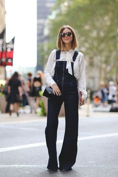 The Most Authentically Inspiring Street Style From New York #refinery29  http://www.refinery29.com/2015/09/93788/ny-fashion-week-spring-2016-street-style-pictures#slide-66  See? Overalls can be super-flattering....